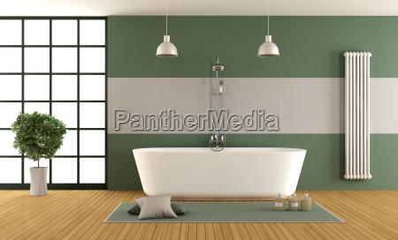contemporary green and gray bathroom