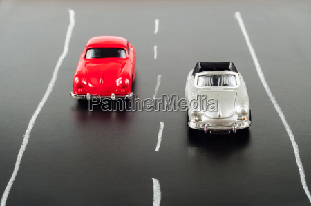 toy cars on road with toy