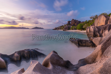 dramatic sunset at anse source dargent