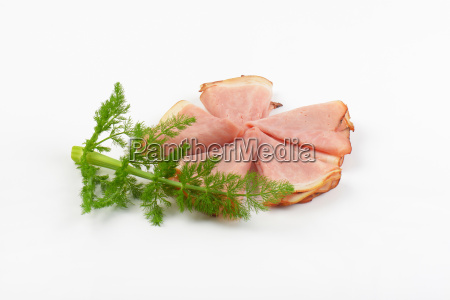 thin slices of cooked ham