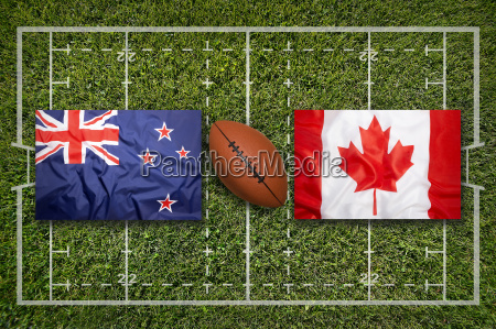 new zealand vs canada flags on