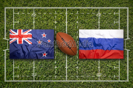 new zealand vs russia flags on