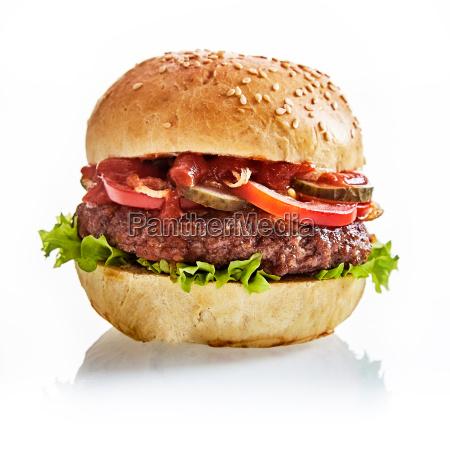 close up of juicy beef patty