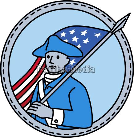 american revolutionary soldier flag circle mono