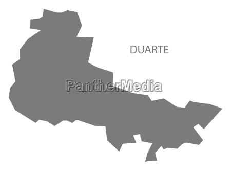 duarte dominican republic map grey