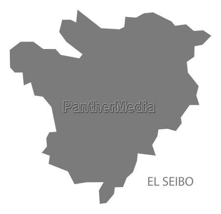 el seibo dominican republic map grey