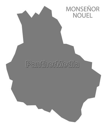 monsenor nouel dominican republic map grey