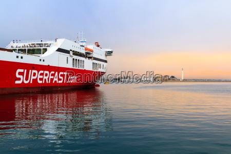 a ferry in the mediterranean