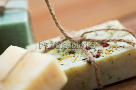 close up of handmade soap bars