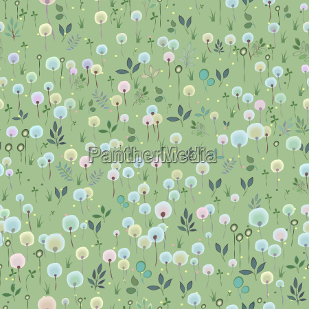 blossoming field floral seamless pattern