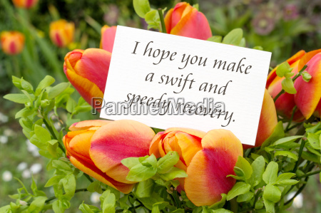 greeting card with tulips and english