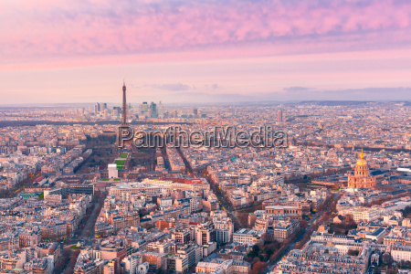 aerial night view of paris france