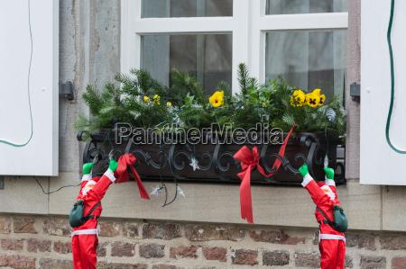christmas decoration on a windowsill