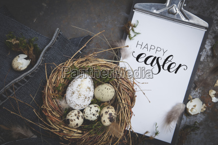 easter decoration with nest and egg