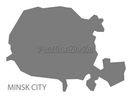 minsk city belarus map grey