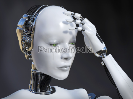 3d rendering of female robot crying
