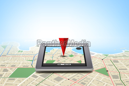 tablet pc with gps navigator map