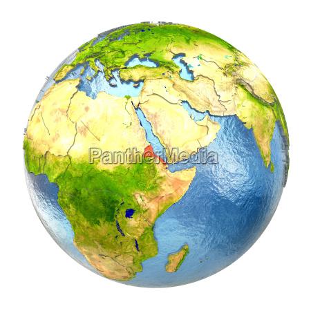 eritrea in red on full earth