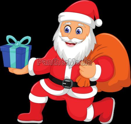 cute santa claus cartoon holding a