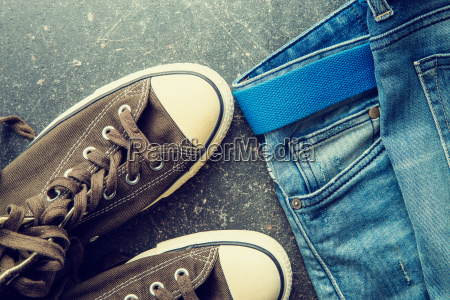 blue jeans and vintage sneakers