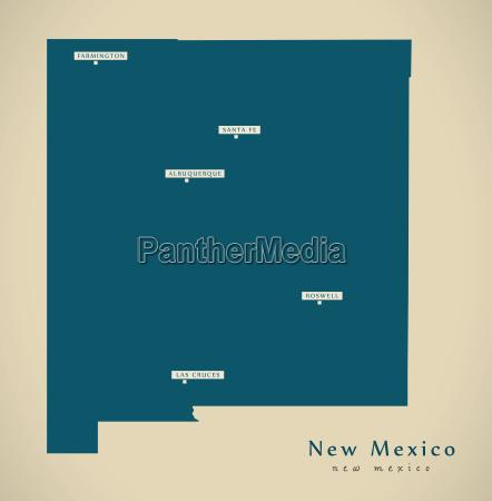 modern map new mexico usa