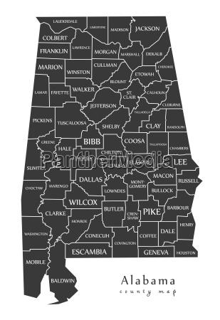 modern map alabama county map