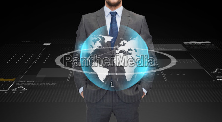 close up of businessman with earth
