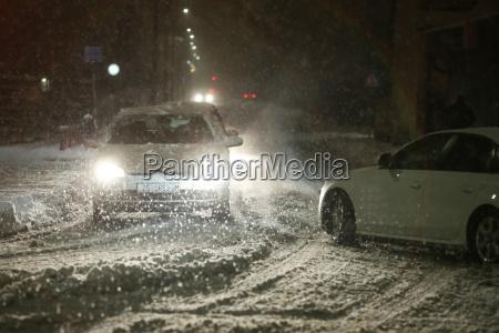 snowfall on the streets of velika