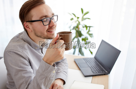 creative man or businessman drinking coffee