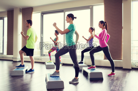 group of people working out with