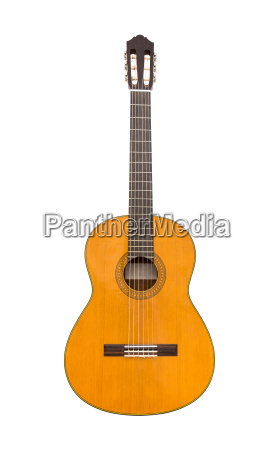 natural classical acoustic guitar isolated on