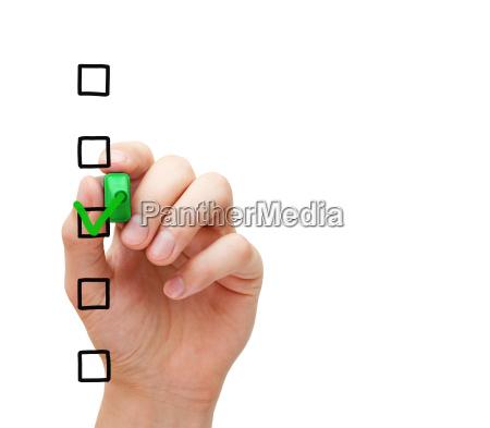 blank survey checklist concept