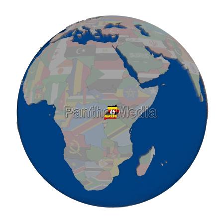 uganda on political globe