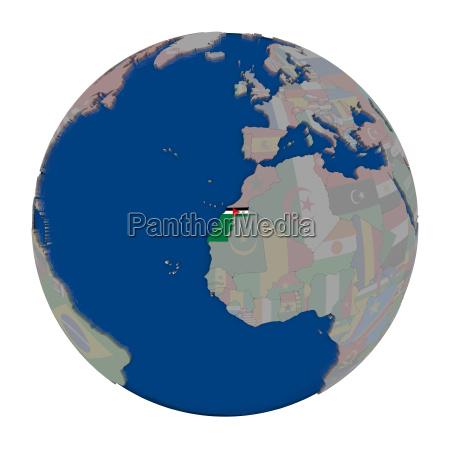 western sahara on political globe