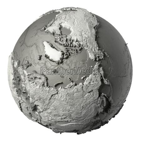 3d globe north pole