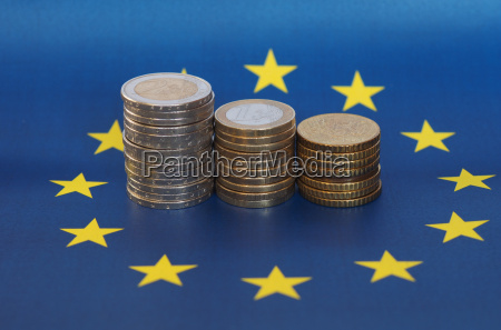 euro coins european union over flag