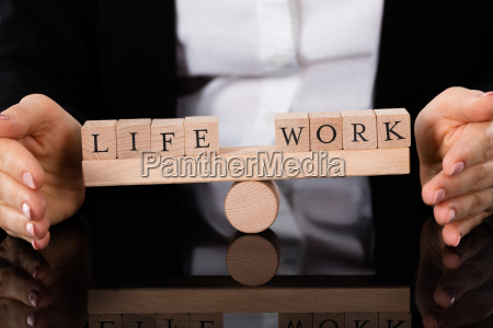 life and work blocks balancing on