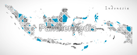 indonesia map crystal diamond style artwork