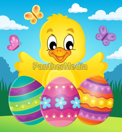 chicken with easter eggs theme image