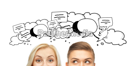 happy young women faces with text