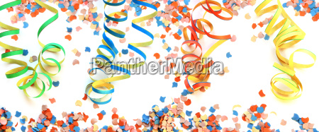 air streamers and confetti background