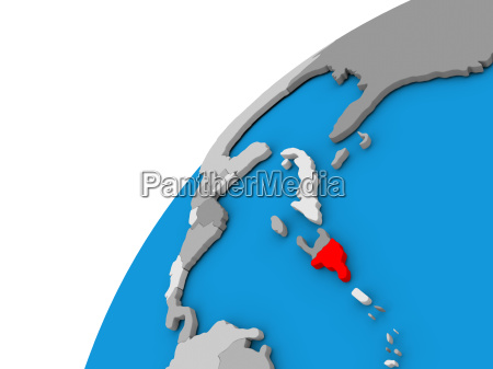 dominican republic on globe in red