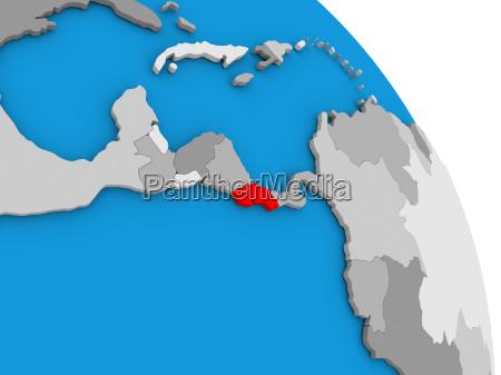 costa rica on globe