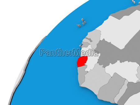 sierra leone on globe in red