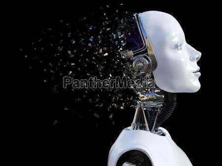 3d rendering of female robot head