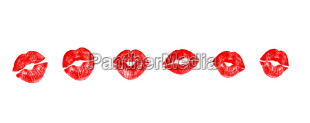 lipstick kisses in red realistic