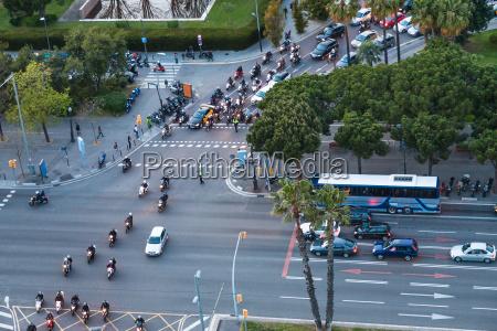 car traffic on crossroad in barcelona
