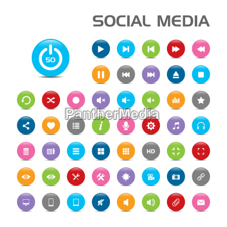 social media buble icons on white