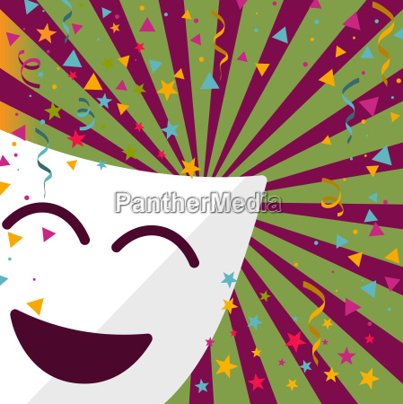 carnival mask with confetti stars and