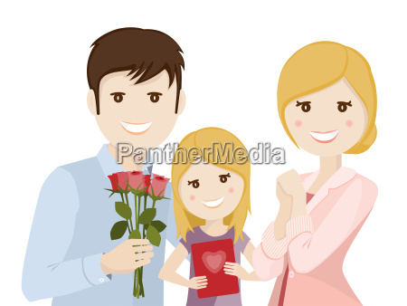 family celebrating mothers day illustration